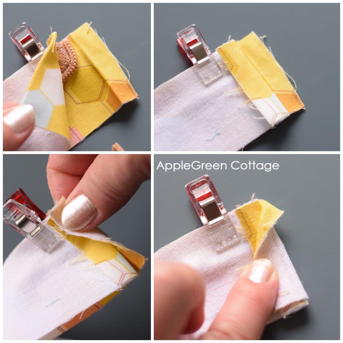 folding detail for making an inset zipper closure