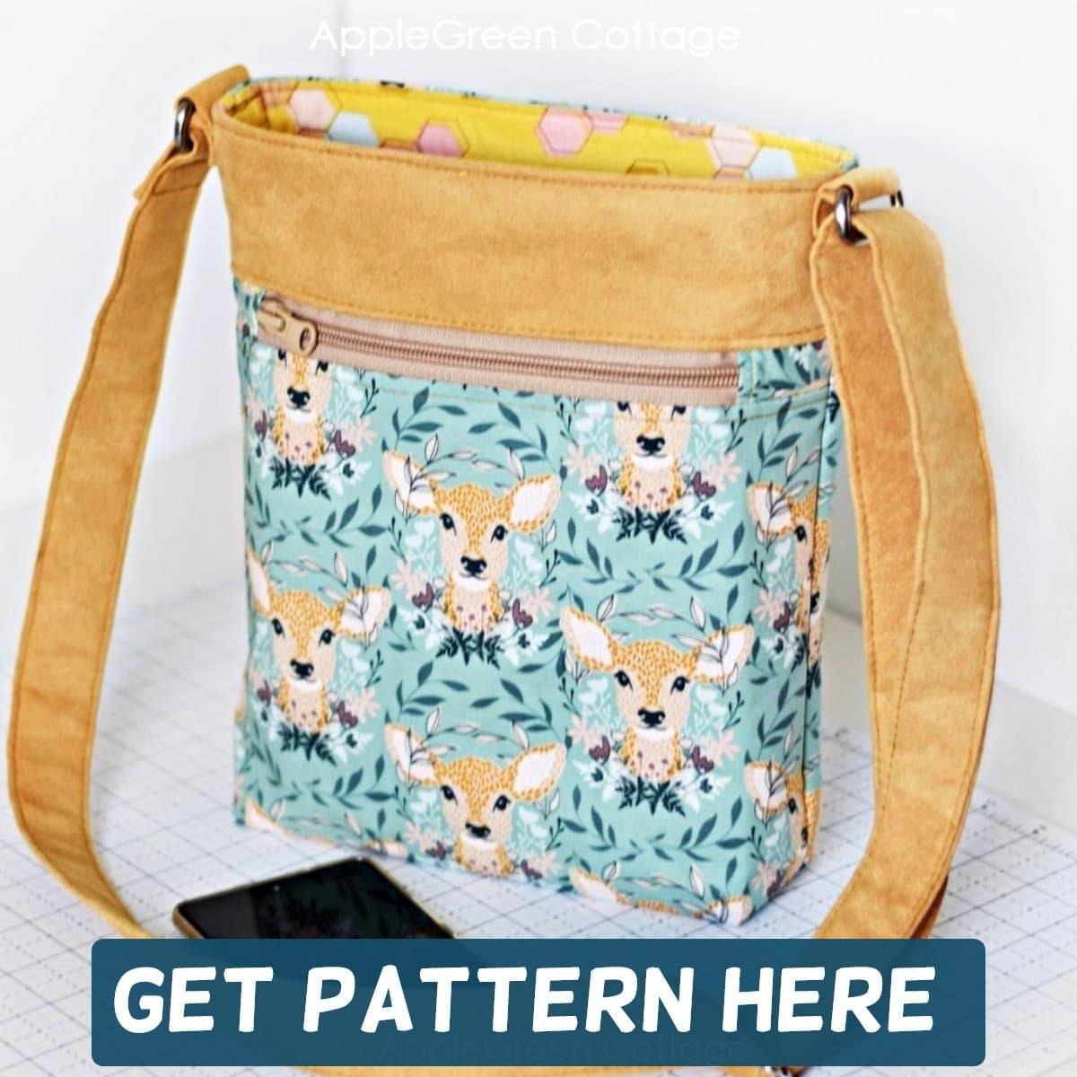 teya crossbody bag pattern sewn in teal and brown suede